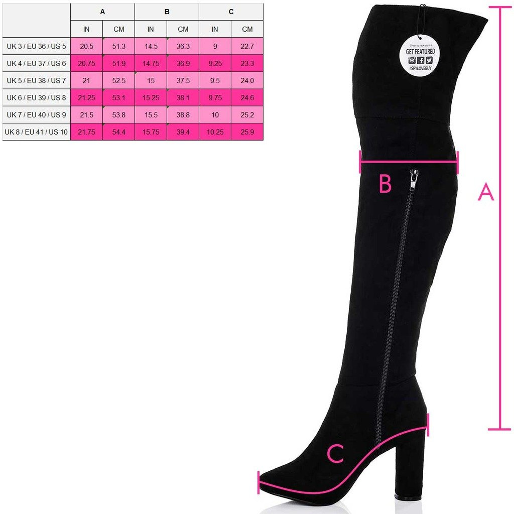 30466ef8f1 Amazon.com | Spylovebuy Block Heel Over Knee Tall Boots Black Suede Style  SZ 8 | Shoes