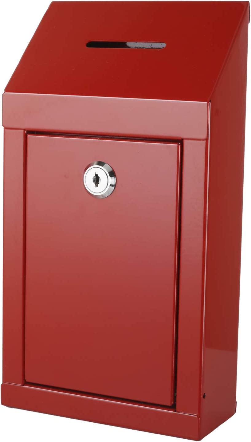 Metal Donation Box & Collection Box Office Suggestion Box Secure Box with Top Coin Slot and Lock Included with 2 Keys - Easy Wall Mounting or Counter Top Use (Red)