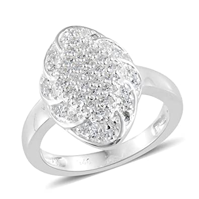 64d7d1c3a J FRANCIS 925 Sterling Silver Made with Swarovski® Zirconia Cluster Ring  for Women: Amazon.co.uk: Jewellery