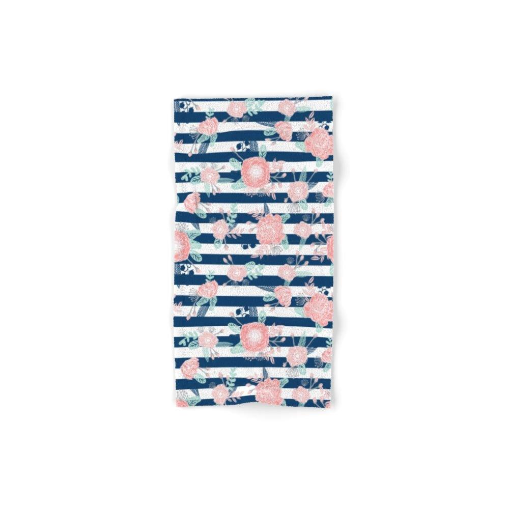Society6 Florals Bouquet Navy Stripe Modern Classic Pattern Print Nautical Preppy Chic Kids Children College Hand Towel 30''x15''