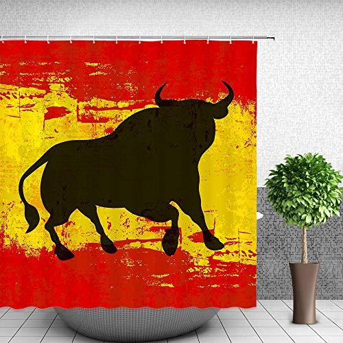 HarMQ Spanish Bull Antiqued Aged Symbol Spaniard Icon Spain Flag Grunge Digital Clip Art Funky Lovely Decor Print Home Bathroom Design Set Polyester Fabric Shower Curtain Vermilion Yellow 72