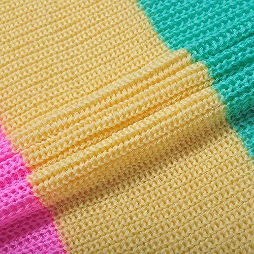 Maniche Maglione Coprente Cappotto Lunghe E Arcobaleno Mkhdd Con Leggero Misto Cardigan Multicolored gRxqa