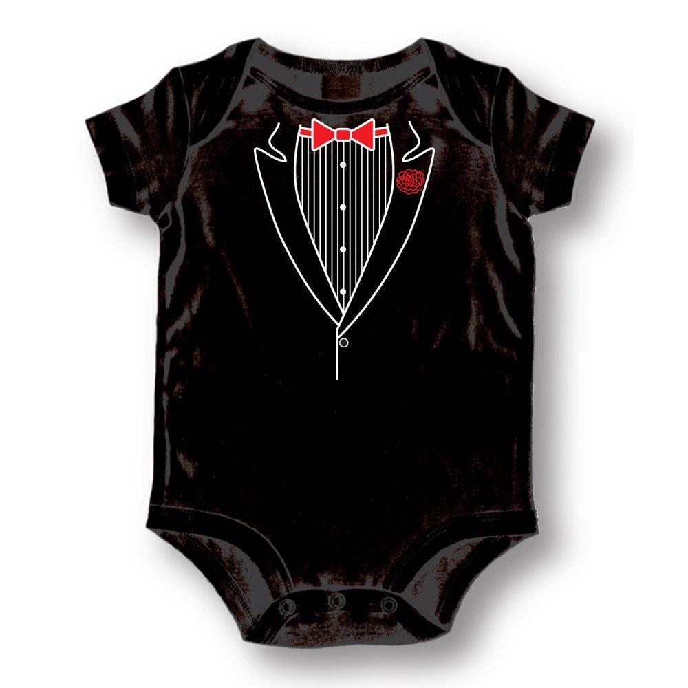 Attitude Rompers Tuxedo Baby Romper Onesie; 6-9 Months-Black