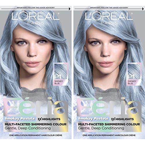Price comparison product image L'Oreal Paris Feria Pastels Hair Color, Sapphire Smoke, 2 Count