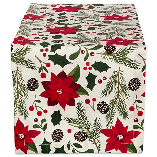 DII 100% Cotton, Machine Washable, Printed Kitchen Table Runner For Dinner Parties and Holidays - 14x108