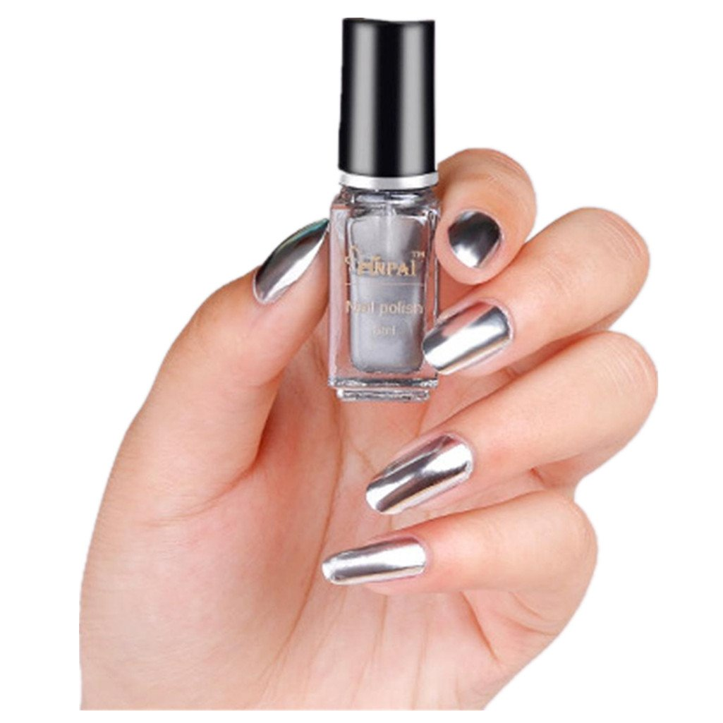Women's Mirror Nail Polish, Iuhan Mirror Nail Polish Plating Silver Paste Metal Color Stainless Steel (A)