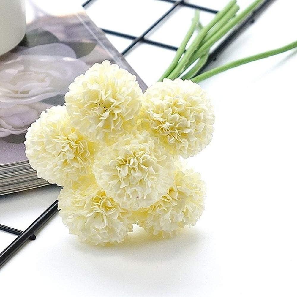 LANSHUYING 6 Ramas/racimo Mini crisantemo Bola de Flores Flor de Seda decoración de la Boda Flor Nupcial