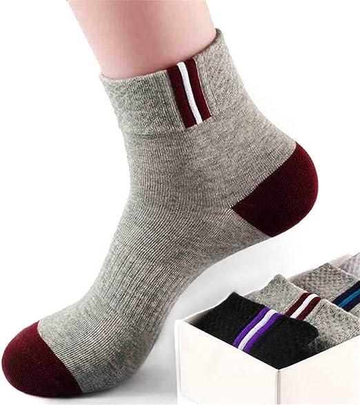 Ouyeye Calcetines de algodón para Hombres, Calcetines Deportivos, Medias Gruesas, Calcetines Deportivos de algodón, código Mixto de 5 Colores: Amazon.es: Hogar