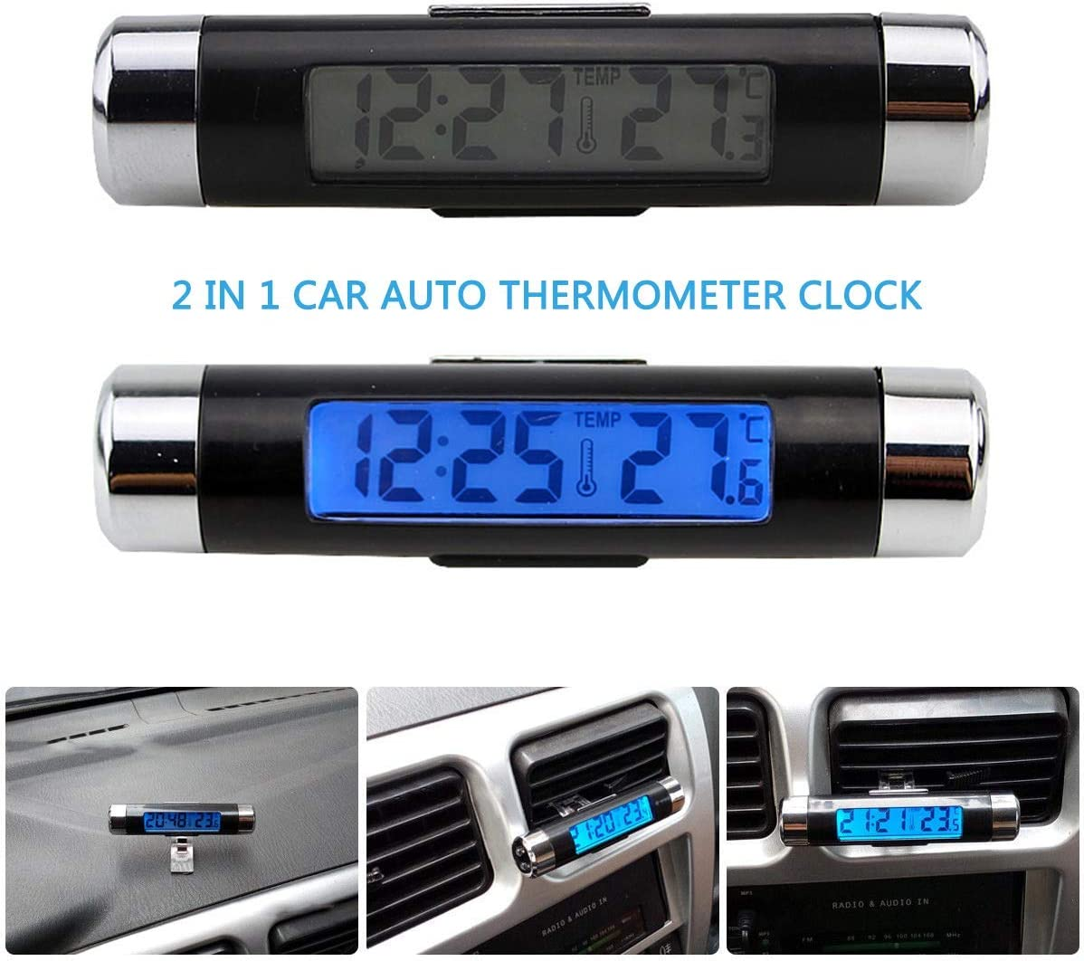 Car Temperature Clock Universal Auto Dashboard Digital Clocks with Blacklight And LCD Screen Adjustable Vehicle Temperature Gauge Support 12h/24h Transformation Modes-Black+Silver