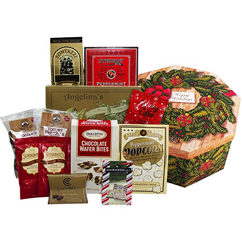 Holiday Wreath of Sweets and Christmas Treats Gift Box Christmas Food Treats