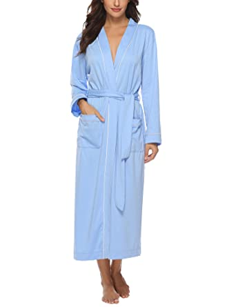 Aibrou Women s Cotton Knit Long Kimono Robe Spa Bathrobe Soft Sleepwear Blue 579e66be9
