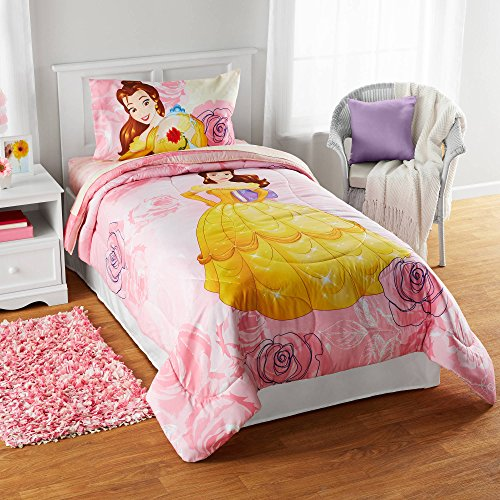 1 Piece Kids Girls Pink Disney Belle Comforter Twin/Full, Enchanted Princess Bedding Beauty and the Beast Pattern Magical Kingdom Yellow Dress, Polyester