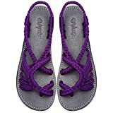 Everelax Summer Braided Strip Flat Sandals Casual Vacation Beach Shoes for Women Teenagers Girls Purple 9B(M)US
