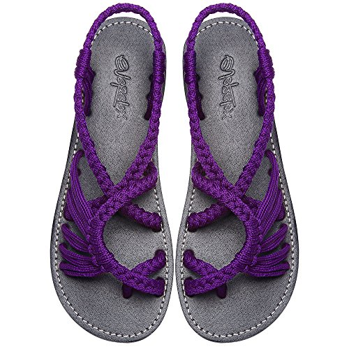 (Everelax Women's Flat Sandals Purple 8B(M) US)