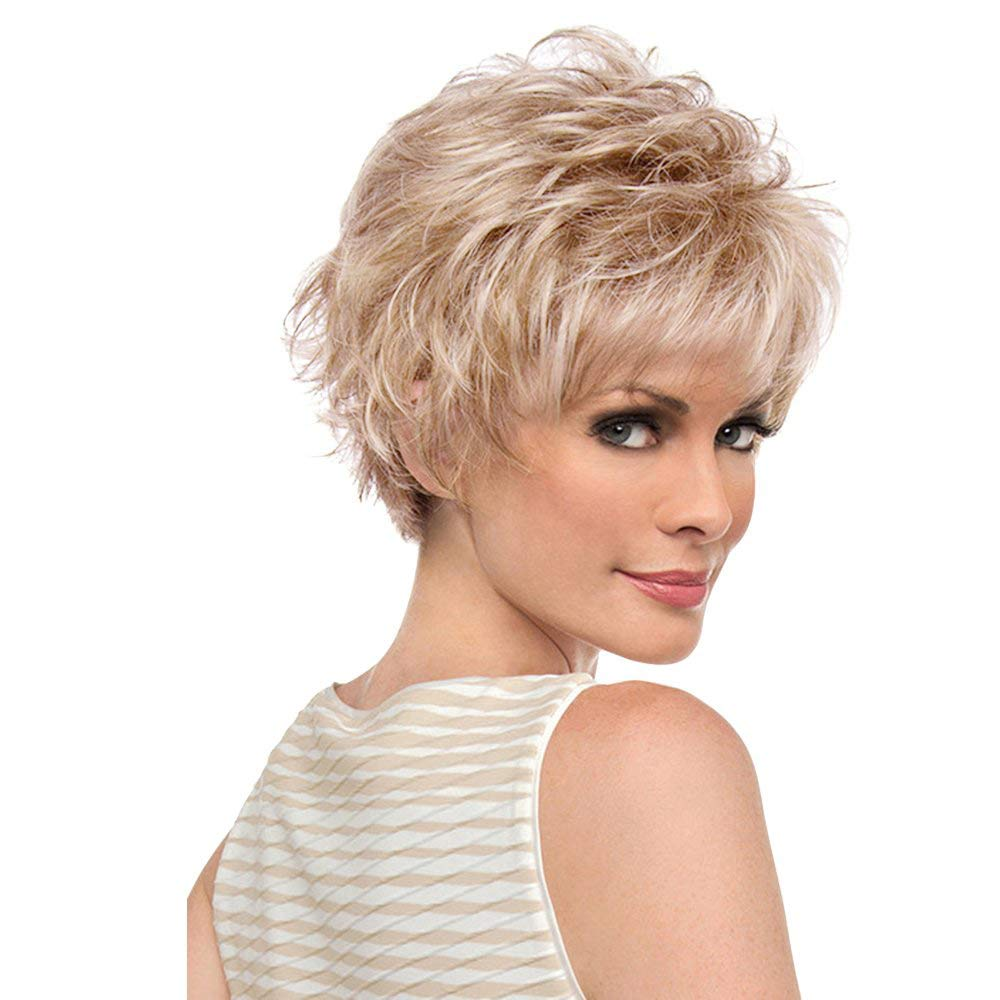 BLONDE UNICORN Short Natural Human Hair Wigs Fluffy Wavy Wig for Women Daily Use With Free Wig Cap(30/613#) by BLONDE UNICORN