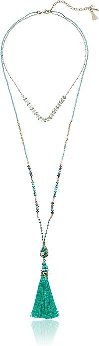 Multi Lonna /& Lilly Womens Gold//Multi 32 2Row Tassel Pendant Necklace