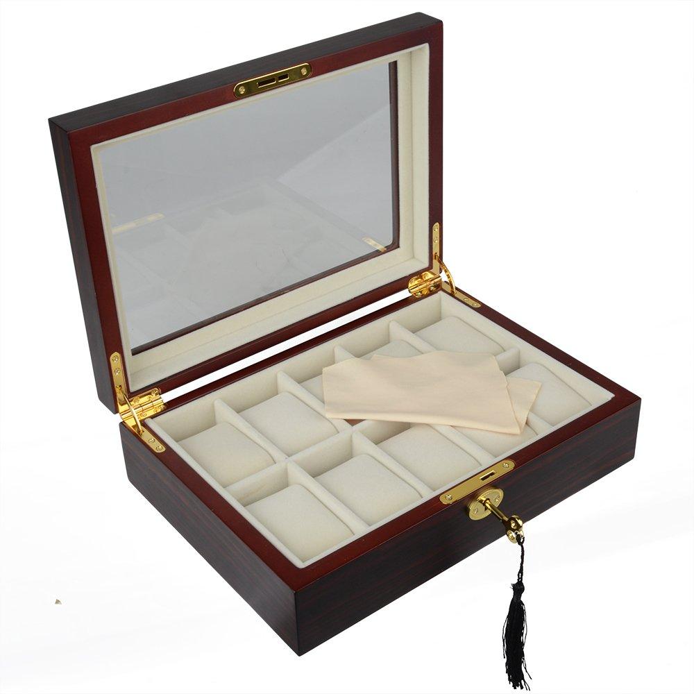 時計ケースボックスwithガラス表示ジュエリーストレージ、黒檀木製、10スロット B071HBHWQ9