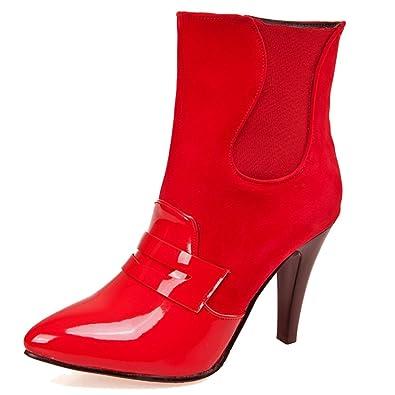 HiTime Damen Combat Boots, Rot - Rot - Größe: 38