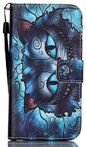 Galaxy S7 Case,Aiyze [Wallet Stand] Samsung Galaxy S7 Wallet Case Heavy Duty Protective Shock Resistant Wallet Case for Samsung Galaxy S7,Touch Screen Stylus Pen -Big blue cat (N1 Full Body Kit)