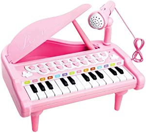 Love&Mini Piano Toy for 3 4 5 Years Old Girls Birthday Gift Toy Keyboard for Toddler Pink