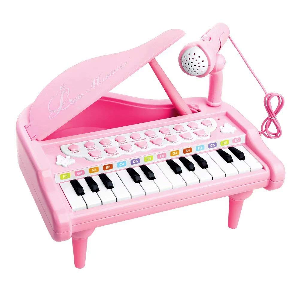 Love&Mini Piano Toy Keyboard for Kids Birthday Gift Pink Music Instruments with Microphone 24 Keys Portable by Love&Mini