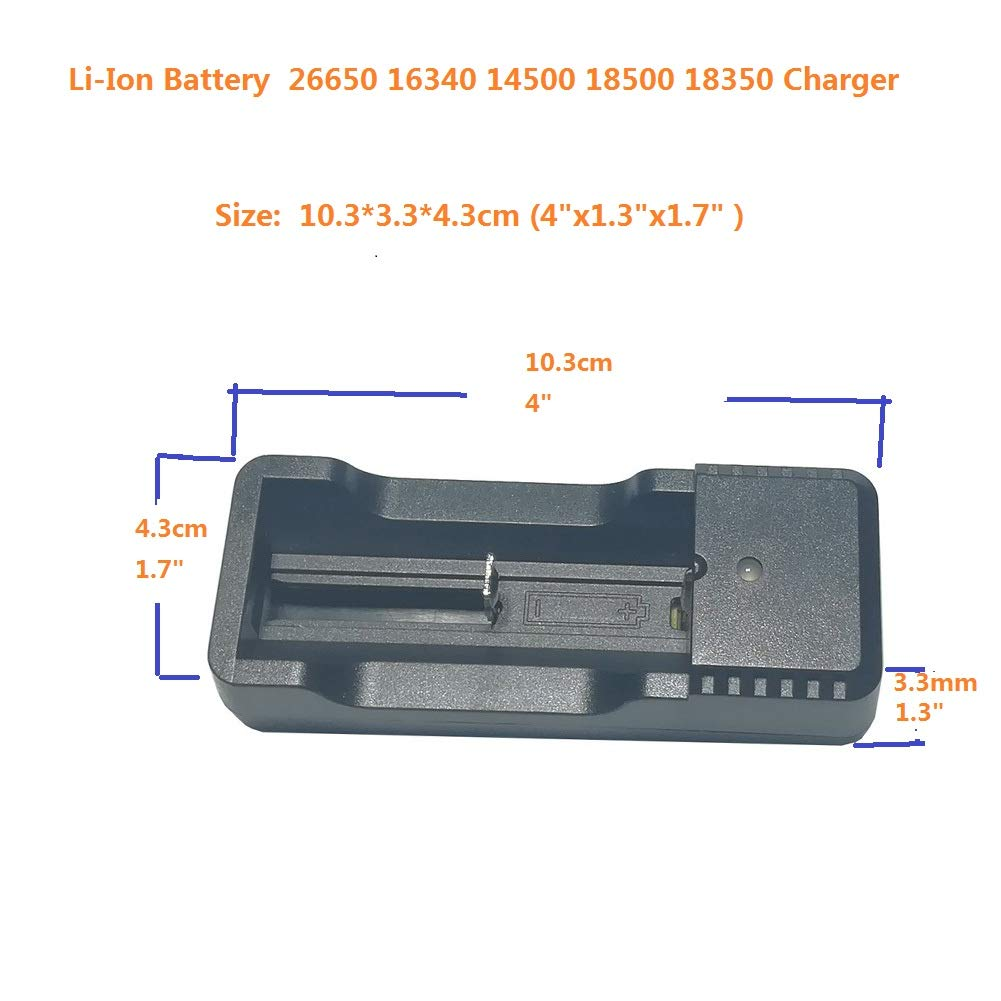 Universal 18650 Charger Compatible With Rechargeable Li-Ion Battery 3.6V /3.7V 26650 16340 14500 18500 18350 4.2v Charger With USB For LED Flashlight Camping Diving Light (1 Pack)