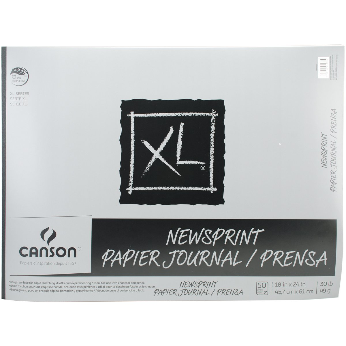 Canson 18-Inch by 24-Inch Biggie Junior Newsprint Paper Pad, 50-Sheet