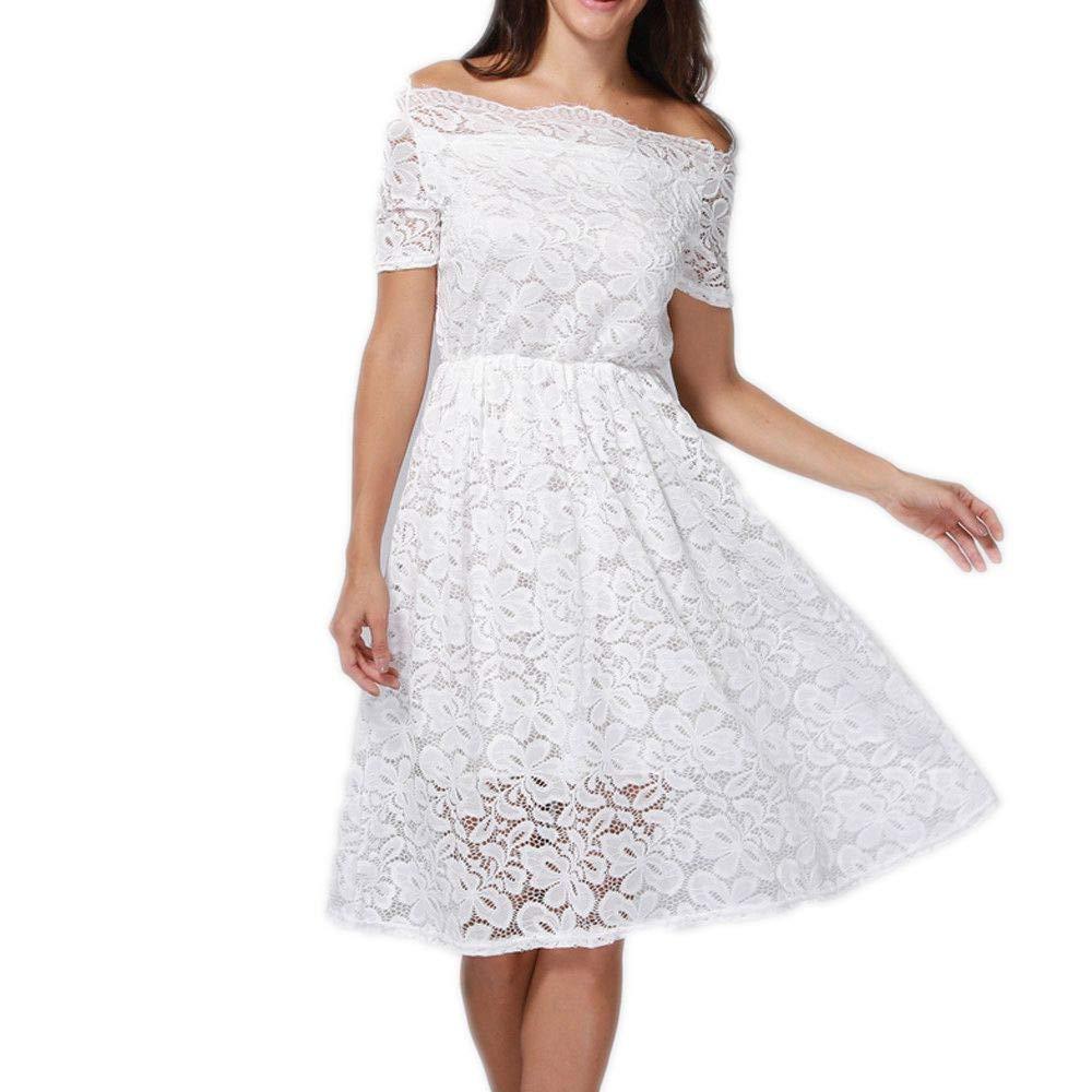 Libermall Women's Dresses Vintage Off Shoulder Lace Evening Party Mini Dress Beach Sundress Cocktail White