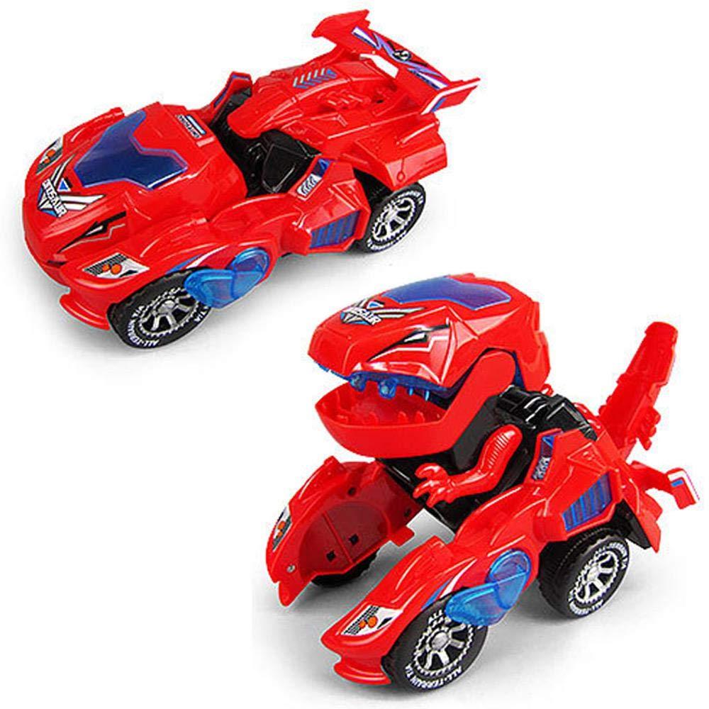 Car Deformation Electric Toy Led Light Sound Dinosour Transform Robot Dinosaur