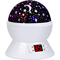 Lampada Proiettore Stelle Luce Notturna Rotante, 8 Modalità, Controllo Timer LED, Alimentato da Batteria e Cavo USB, Lampada Notturna per Bambini e Camera da Letto, per Regali di Compleanno e Natale