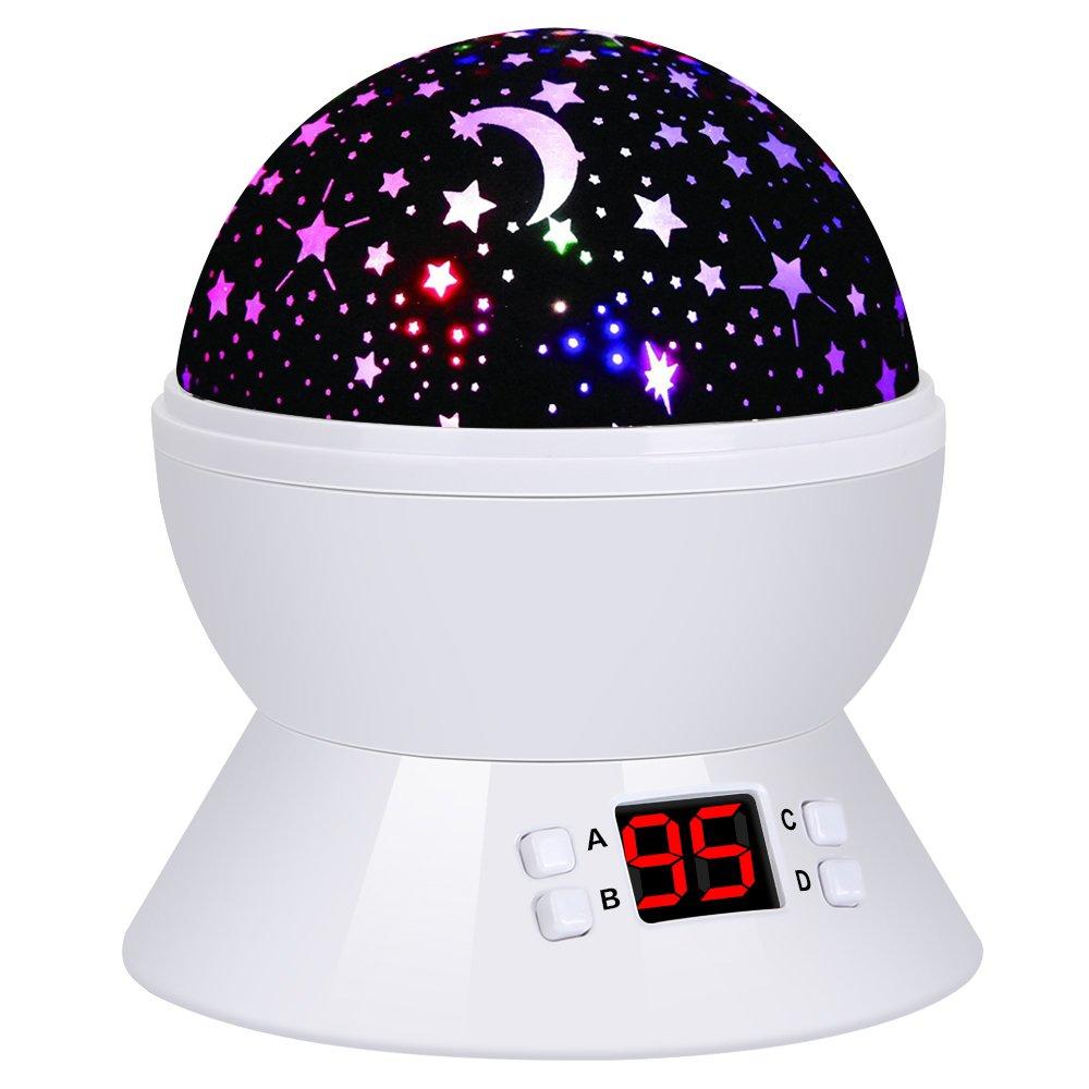 Lámpara Infantil Rotando Romántica Lámpara de Noche con LED Starry Sky Lámpara