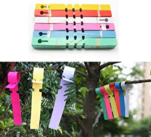 STSUNEU 120pcs Wrap Around Plastic Plant Tree Tags Nursery Garden Plant Labels Markers Waterproof Hanging Tree Labels with Large Writing Surface (6 color20=120)