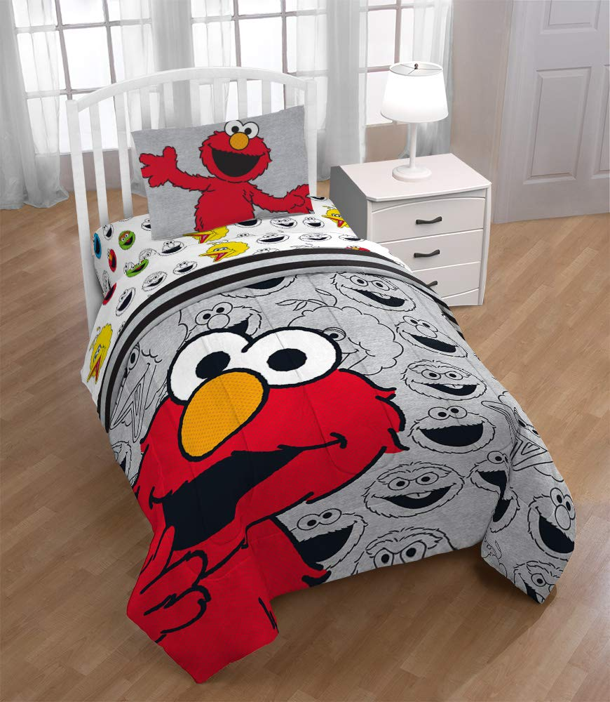 Jay Franco Sesame Street Hip Elmo 4 Piece Twin Bed Set - Includes Reversible Comforter & Sheet Set - Super Soft Fade Resistant Polyester - (Official Product) by Jay Franco (Image #7)