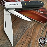 New 3. 5'' BARLOW TWO BLADE BLACK WOOD TRAPPER FOLDING POCKET EcoGift Nice Knife with Sharp Blade COLLECTIBLE- Great For Fun And Practical Use