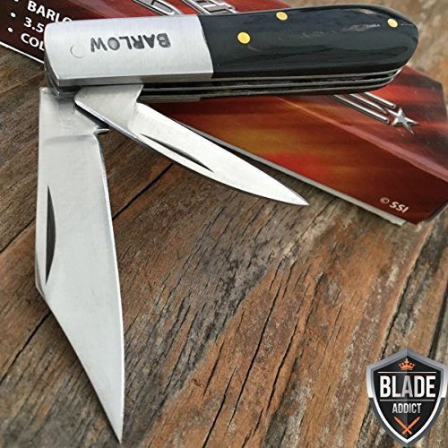 "New 3. 5"" BARLOW TWO BLADE BLACK WOOD TRAPPER FOLDING POC..."