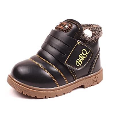 Baby Winter Shoes, Mchoice Infant Toddler Baby Girls Boys Kids Winter Thick Snow Boots Leather Shoes (5~6 Years old, Black)
