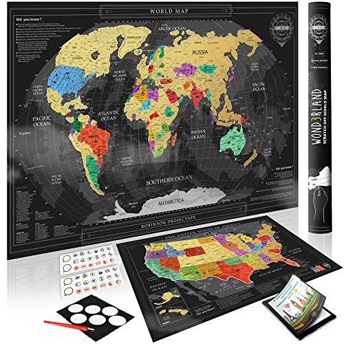 Wond3rland Premium Scratch Off Map of The World + Bonus USA Map | Gold Personalized Wall Map Poster | Deluxe Gift for Travelers & Travel Tracking | Complete Accessories Set + eBook Included