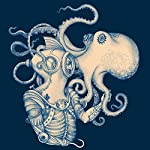 Sharp Shirter Octopus Shower Curtain Steampunk Nautical Decor Pirate Bathroom Theme Gold Kraken Waterproof Fabric 72x72 7