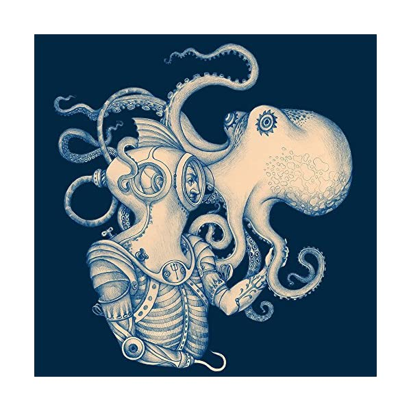 Sharp Shirter Octopus Shower Curtain Steampunk Nautical Decor Pirate Bathroom Theme Gold Kraken Waterproof Fabric 72x72 4