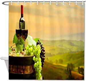 None Brand Grapes Wine Shower Curtain Barrel Bottle Waterproof Bath Curtain Elegant Durable Curtain with Slip Ring Hook for Bathroom Kitchen Decoration 72