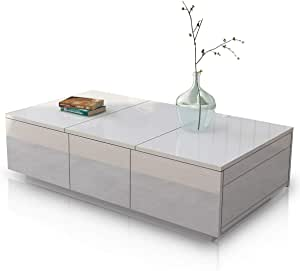 Coffee Table High Gloss Cabinet Slide Top 2 Drawers Storage Wood Living Room Modern Furniture White