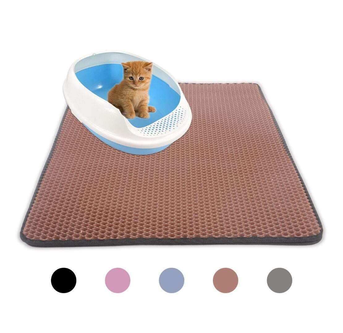 Brown Portable Cat Litter Mat(Large),Litter-Trapping+Water-Proof+Non-Toxic Soft EVA Foam Rubber,Brown
