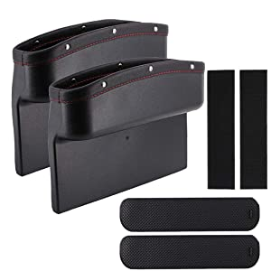 Henzxi Car Seat Pockets PU Leather 2 Pack Car Pocket Organizer Seat Console Gap Filler, Car Seat Side Drop Caddy Catcher for Cellphone Wallet Coin Key with Non-Slip Mat + Velcro Strip