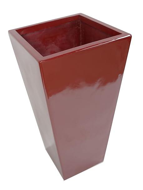 Geko 90 Cm Tall Fibreglass Tapered Planter Gloss Red Amazon Co Uk
