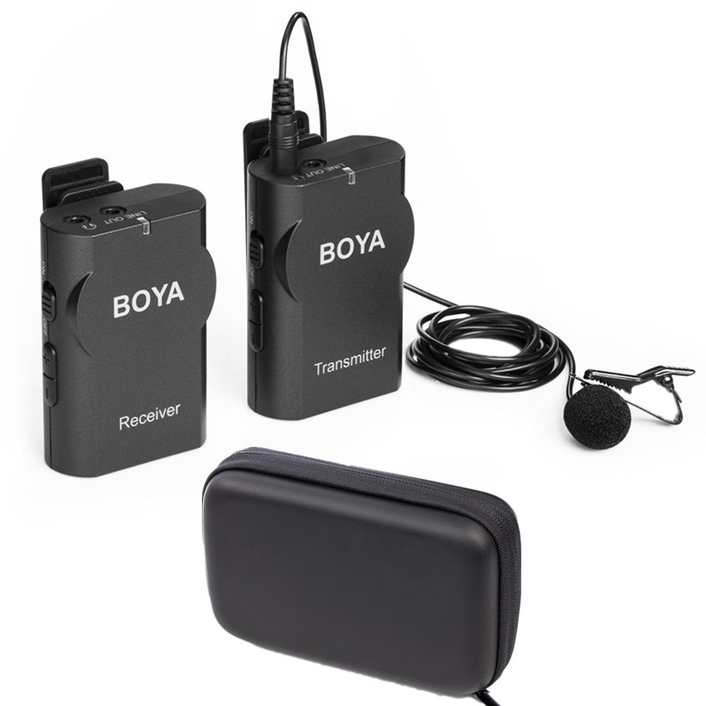 Boya BY-WM4 Wireless Lavalier Microphone System for Canon Nikon Sony Panasonic DSLR Camera Camcorder Iphone Android Smartphone by BOYA