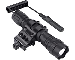 Feyachi FL11 Tactical Flashlight 1200 Lumen LED Light with Picatinny Rail Mount for Outdoor Hunting Shooting, Rechargeable Ba