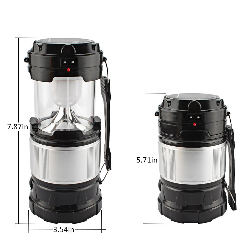 2-Pack LED Lantern, Solar Portable Outdoor Camping Collapsible Flashlight for Emergency supplies,Hurricane,Power failure, Waterproof LED Lighting (Black)