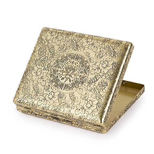 6 Sides Engraved Peonies Pure Copper Metal Cigarette Case Holder For Regular Cigarettes by KUBOY