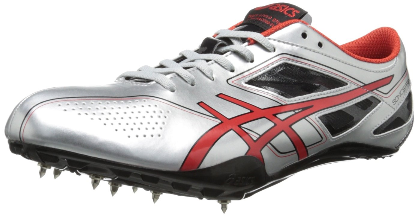 ASICS Men's Sonicsprint Track Shoe,Silver/Fire Red/Black,8 M US