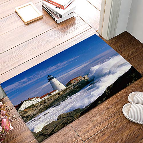 30 Lighthouse - Indoor Doormat Non Slip for Front Door Inside Kitchen Bathroom Floor Mud Dirt Trapper Entrance Rug Shoes Scraper Machine Washable Lighthouse and Wave Beautiful Scene 18 x 30 inch Large